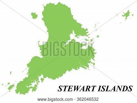 Vector Map Of Stewart Island. On White Background.