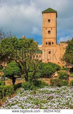 Andalusian Gardens In Udayas Kasbah.kasbah Of The Udayas Is A Small Fortified Complex And A Symbol O