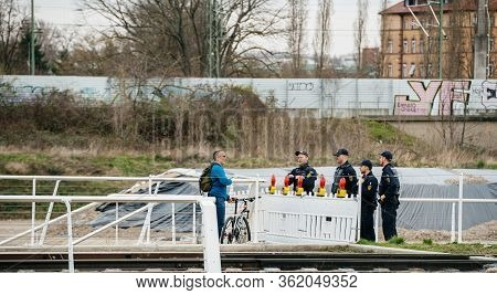 Kehl, Germany - Mar 16, 2020: Group Of German Polizei Police Officers Checkpoint People At The Borde
