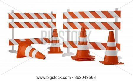 Orange Traffic Warning Cones Or Pylons With Street Barriers On White Background - Under Construction