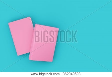 Two Pink Hardcover Books Template Mock-up On Blue Cyan Background Flat Lay Top View From Above, Mode