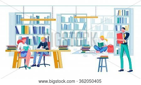 Library In Local University With Shelving, Desk And Chair To Take Seat And Study. Student Getting Re
