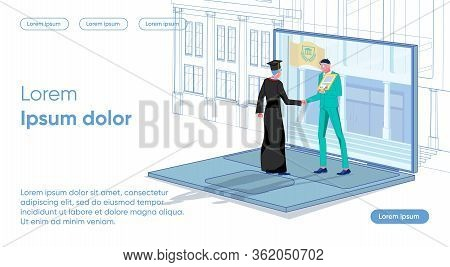 Man In Suit And Guy Stand Laptop And Get Diploma. Formation Logical Structure Educational Elements T