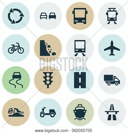Transportation Icons Set With Start Of Motorway, Traffic Light, Dangerous And Other Omnibus Elements