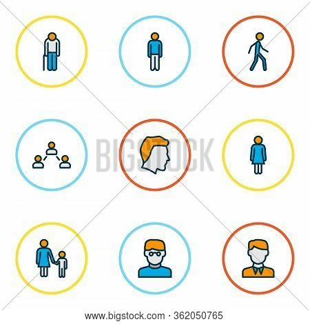 Human Icons Colored Line Set With Female, Man Head, Walking Man And Other Man Elements. Isolated Vec