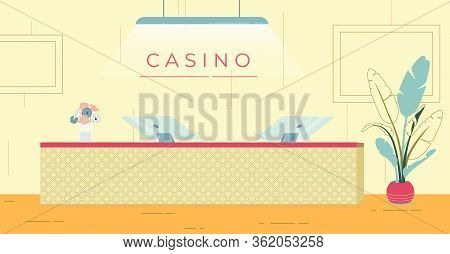 Reception Desk At Entrance To Prestigious Casino. Large Screen Electronic Device For Fast Work. On C
