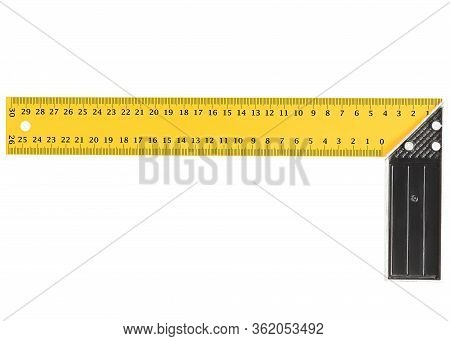 Yellow And Black Metal Construction Square Triangle Ruler Isolated On White Background