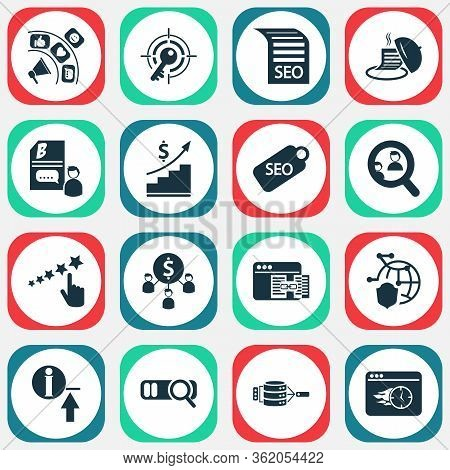 Analytics Icons Set With Target Keyword, Reputation Management, Related Content And Other Tray Eleme