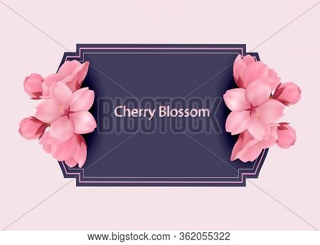 Quilted Square Stitched Background. Floral Wedding Invitation Card Template Design, Pink Sakura Flow