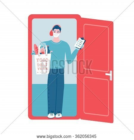 Safe Grocery Delivery Man At Doorway. Delivering Food To Customer Home. Courier Character Holding Pa