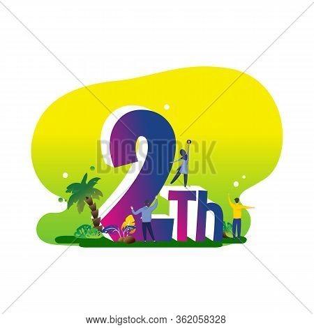 2 Years Anniversary. Birthday Celebration Party Badge. Two Years Celebrating Icon. Anniversary Event