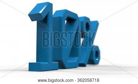 3d Illustration: 10 Percent Sign, Economic Crisis, Financial Crash, Blue 10% Percent Discount 3d Sign on White Background, Special Offer 10% Discount Tag, Sale Up to 10 Percent