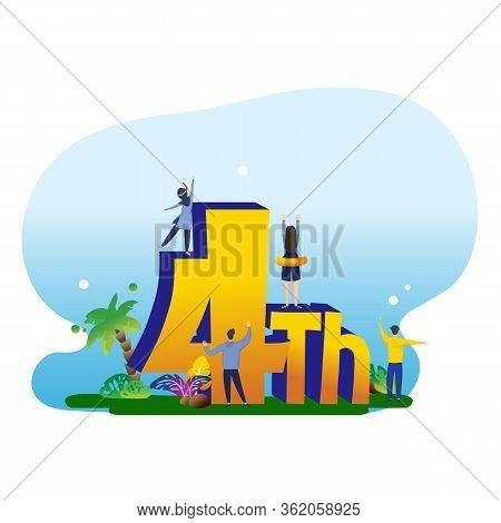 4 Years Anniversary. Birthday Celebration Party Badge. Four Years Celebrating Icon. Anniversary Even