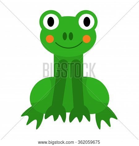Cartoon Happy Frog In Flat Style Isolated On White Background. Vector Illustration.