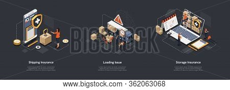 Isometric Shipping Insurance, Loading Issue, Storage Insurance. Workers Work In Warehouse, Storage G