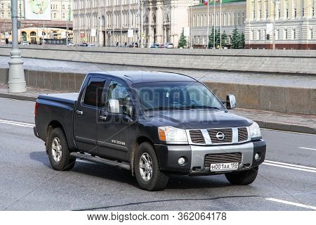 Moscow, Russia - June 3, 2012: Pickup Truck Nissan V8 Titan In The City Street.
