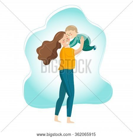 Happy Mom And Baby In Her Arms Joy Smiles Play Laughter Health