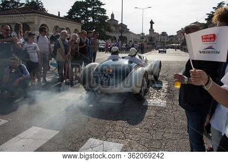 Brescia, Italy - May 19 2018: Alfa Romeo 6c 1750 Gs Aprile 1931 Is An Old Racing Car In Rally Mille