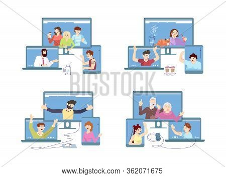 Self Isolation Period Or Quarantine Concept People Stay At Home, Have Collective Virtual Meeting For
