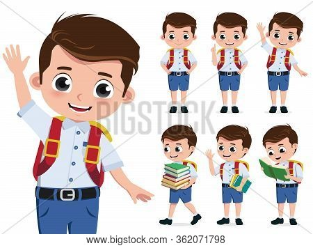School Kid Vector Character Set. Back To School Boy Student Characters Wearing Uniform While Happy W