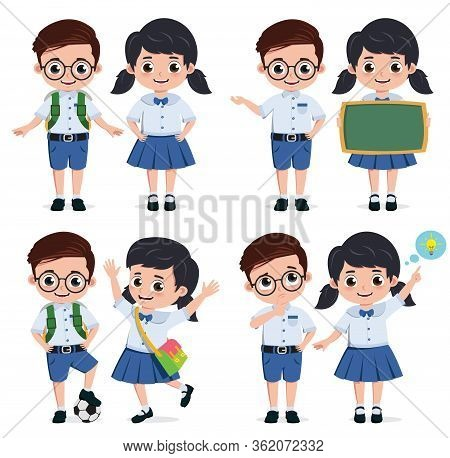 School Students Vector Characters Set. Back To School Classmates Elementary Student Characters In Ed