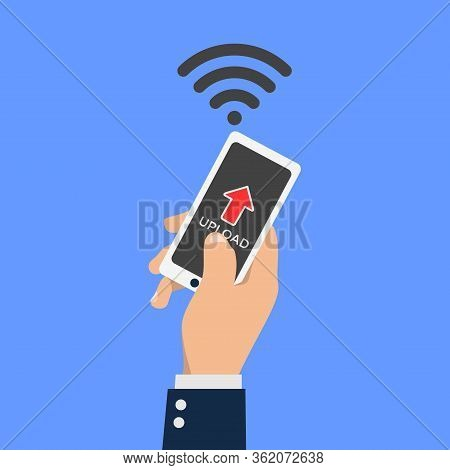 Vector Illustration From A Businessman Uploading File Trough Smartphone. Suitable For Internet Techn