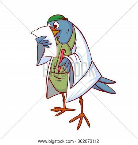Bird Doctor Or Medic Colorful Vector Illustration