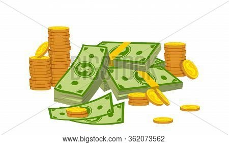 Money Composition Pile Coin Stack Flat Cartoon. Gold Coins Heap, Bank Currency Sign Falling. Hundred