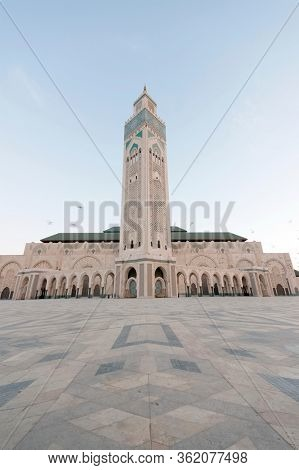 CASABLANCA, MOROCCO, 10 OCTOBER, 2019: Architectural detail of the The Hassan II Mosque, Casablanca. It is the largest mosque in Morocco and the third largest mosque in the world
