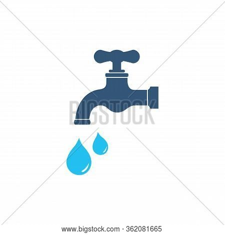 Water Tap Icon Isolated On White Background. Faucet With Water Drop Vector Icon. Filled Flat Sign Fo