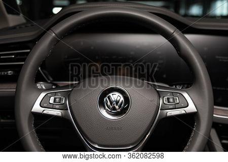 Novosibirsk/ Russia - March 09 2020: Volkswagen Touareg, Auto Interior: Steering Wheel With Silver L