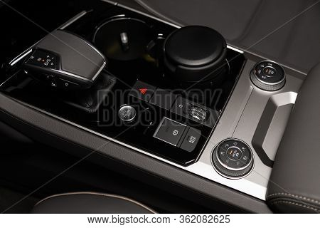Novosibirsk/ Russia - March 09 2020: Volkswagen Touareg, Close-up Of The Accelerator Handle And Butt