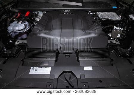 Novosibirsk/ Russia - March 09 2020: Volkswagen Touareg, Close Up Detail Of  Car Engine, Front View.