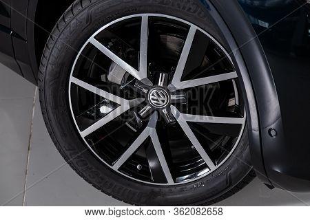 Novosibirsk/ Russia - March 09 2020: Volkswagen Touareg, Car Wheel On Black  Car - Close Up