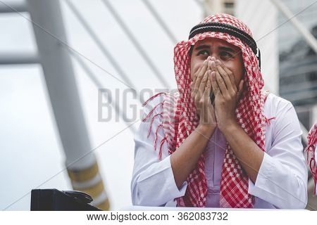 Unemployed Jobless Arabian Businessman Recession Crisis Stress Losing Job. Diversity Arabian Man Des