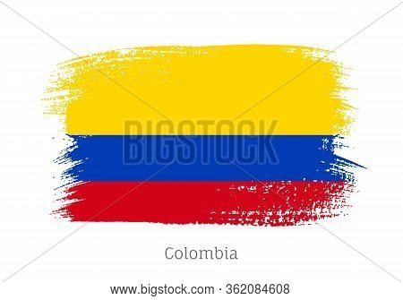 Colombia Republic Official Flag In Shape Of Paintbrush Stroke. Colombian National Identity Symbol Fo