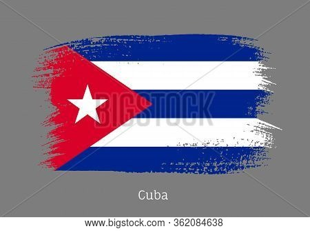 Cuba Republic Official Flag In Shape Of Paintbrush Stroke. Cuban National Identity Symbol For Patrio