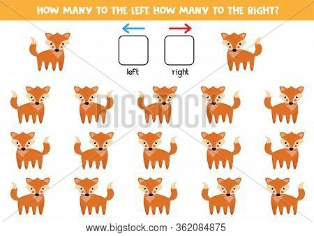 How Many Red Foxes Go To The Left And How Many To The Right. Educational Game For Kids.