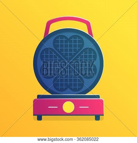 Waffle Iron Isolated Icon In Cartoon Style. Equipment For Cooking Traditional Belgian Dessert. Elect