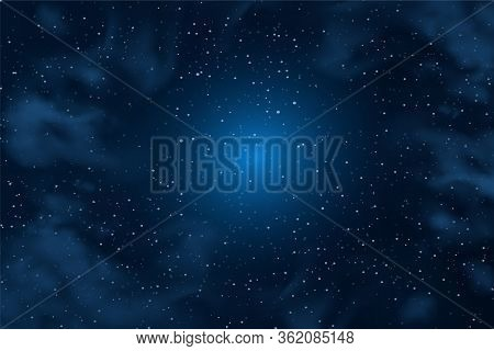 Horizontal Space Background With Abstract Shape And Stars. Web Design. Space Exploring. Vector Illus