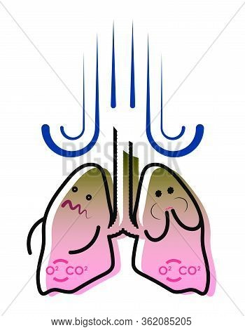 Illustration, Smokers Lungs, Nausea And Vomiting, Feeling Sick. Prevention Of Respiratory Disease. I