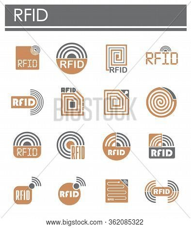 Rfid Related Icons Set On Background For Graphic And Web Design. Creative Illustration Concept Symbo