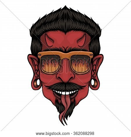 Devil Head Vector Illustration For Your Company Or Brand