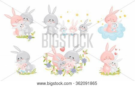 Rabbit Family With Bunny Mom And Dad Nursing Their Cubs Vector Set