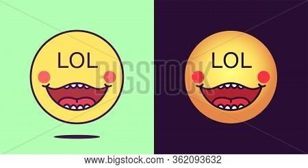 Emoji Face Icon With Phrase Lol. Laughing Emoticon With Text Lol. Set Of Cartoon Faces, Emotion Icon