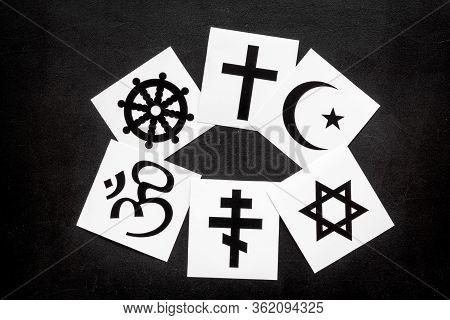 World Religions Concept. Christianity, Catholicism, Buddhism, Judaism, Islam Symbols On Black Backgr