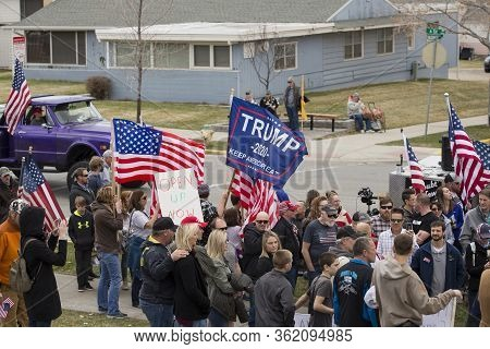 Helena, Montana - April 19, 2020: Demonstrators At The Capitol Protesting The Governments Shutdown O