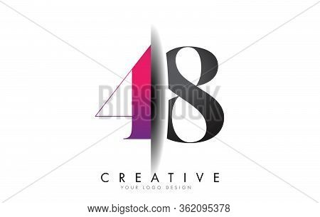 48 4 8 Grey And Pink Number Logo With Creative Shadow Cut Vector Illustration Design