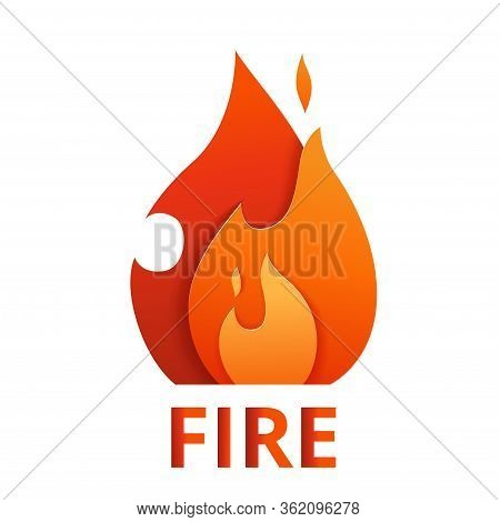 Fire Logo Cut Out Of Paper. Multi-layer Flame Icon