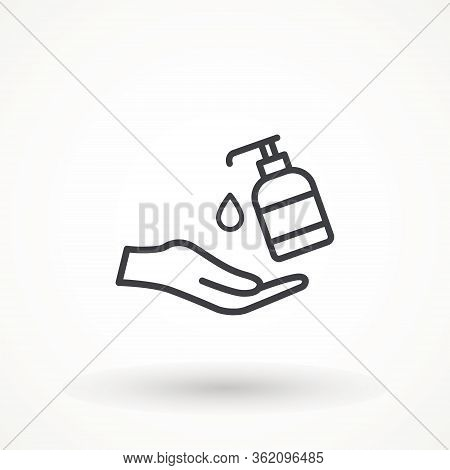 Disinfection. Hand Soap Linear Icon. Hand Sanitizer Bottle Icon, Washing Gel. Anti-bacterial Sanitiz